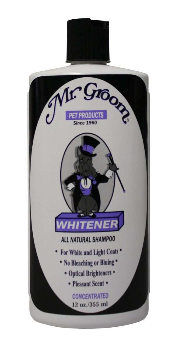 Mr. Groom Whitener Shampoo - Mr. Groom Priežiūros Priemonės Šunims ir Katėms. Šampūnas Šunims ir Katėms Kuris Paryškina Baltų ar Šviesių Spalvų Kailius 355ml.