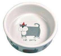 Trixie Cat party - Dubenėliai katėms. Kačių keramikinis dubenėlis su piešinėliais 200ml./11cm.