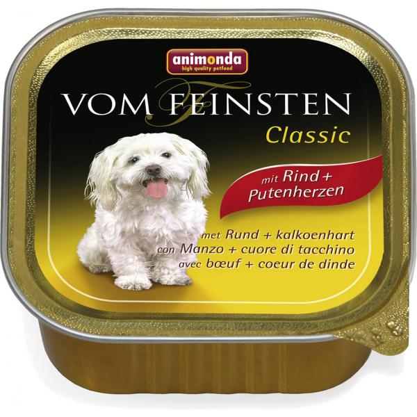 Animonda Vom Feinsten Classic mit Rind + Putenherzen - Konservai šunims su jautiena ir kalakutų širdimis (150g.)