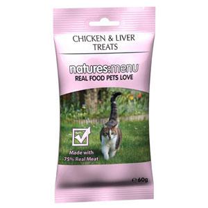 Natures:menu Cat Treats with Chickend and Liver - Skanėstai katėms su vištiena ir kepenėlėmis (60g.)