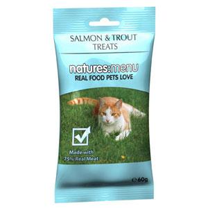 Natures:menu Cat Treats with Salmon and Trout - Skanėstai katėms su lašiša ir upėtakiu (60g.)