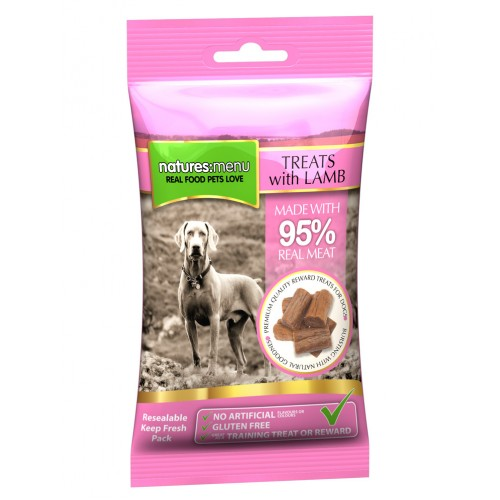 Natures:menu Treats with Lamb - Skanėstai šunims su ėriena (60g.)