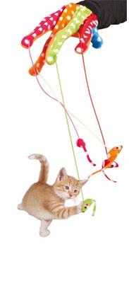 Trixie Cat Toy Play Glove - Žaislai katėms. Aktyviam žaidimui. Pirštinė žaidimui su 4 kabančiomis pelėmis