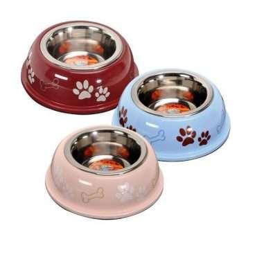 Camon Dog Bowls - Dubenėliai šunims. Raudonas dubenėliai su pėdutėmis 950ml./D16,5cm.