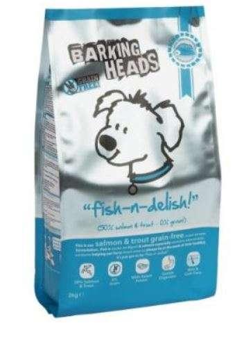 Barking Heads Fish N Delish Grain Free - Sausas maistas mažų ir vidutinių veislių šunims su lašiša ir upėtakiais, be grūdų (2kg.)