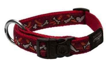 Rogz - Antkakliai šunims. Raudonas antkaklis šunims su kauliukais 20-31cm.