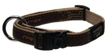 Rogz - Antkakliai šunims. Rūdas antkaklis šunims su dekoratyvine juostele 20-31cm.