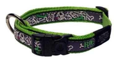Rogz - Antkakliai šunims. Žaliai pilkas su dekoratyvine juostele antkaklis šunims 20-31cm.