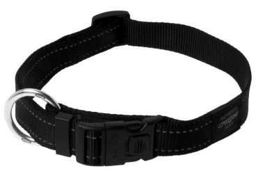 Rogz Lumberjack Black - Antkakliai šunims. Juodas pritaikomas antkaklis su atšvaitu 43-70cm.