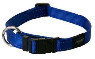 Rogz - Antkakliai šunims. Mėlynas antkaklis su atšvaitu 34-56cm.