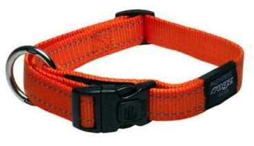 Rogz - Antkakliai šunims. Oranžinis antkaklis su atšvaitu 34-56cm.