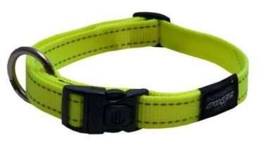 Rogz - Antkakliai šunims. Šviesiai žalias antkaklis su atšvaitu 26-40cm.