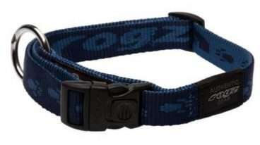 Rogz - Antkakliai šunims. Mėlynas antkaklis su užrašų ROGZ 26-40cm.