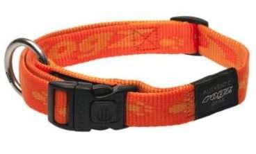 Rogz - Antkakliai šunims. Oranžinis antkaklis su užrašų ROGZ 26-40cm.