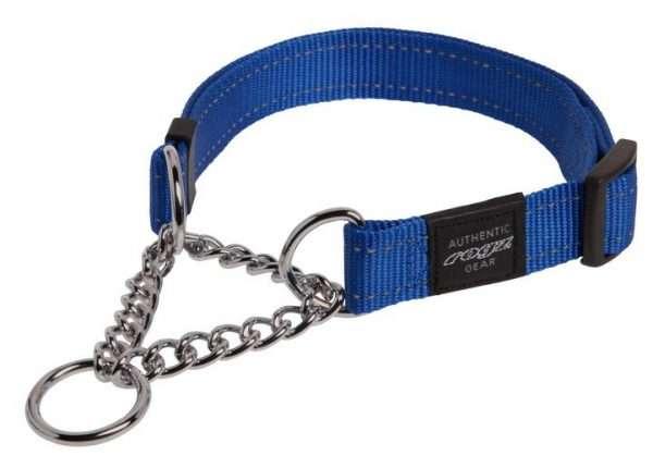 Rogz Lumberjack - Antkakliai šunims. Mėlynas pritaikomas antkaklis su grandinėle ir atšvaitu 50-70cm.