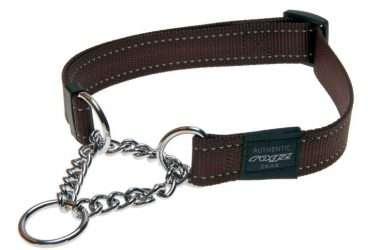 Rogz Fanbelt - Antkakliai šunims. Rudas pritaikomas antkaklis su grandinėle ir atšvaitu 40-56cm.