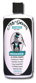 Mr. Groom Medicated Shampoo - Mr. Groom Priežiūros Priemonės Šunims ir Katėms. Gydomasis šampūnas sausai, niežtinčiai ir pleiskanojančiai odai (355ml.)