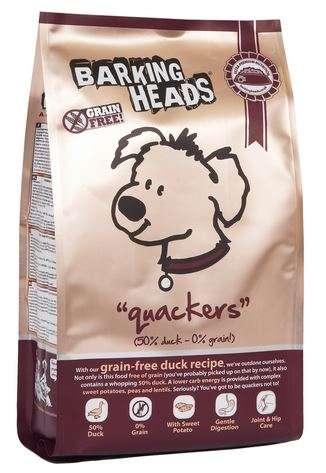 Barking Heads Quacker Grain Free - Sausas maistas mažų ir vidutinių veislių šunims ančių ir upėtakių mėsos formulės, be grūdų (2kg.)