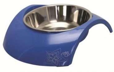 Rogz Luna Small Blue - Dubenėliai šunims. Mėlynas metalinis dubenėlis su silikonu 160ml.