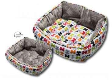 Rogz Dog Bed Bones - Rogz guoliai šunims. Minkštas guolis šunims su kauliukais. Su dvipusę pagalvę 56x43x29cm.