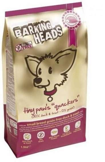 Barking Heads Tiny Paws Quackers Grain Free - Sausas Maistas su Antiena Mažų Veislių Šunims (4kg.)