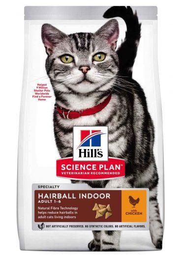 Hill's sausas maistas katems - Hill's Science Plan Adult Hairball & Indoor - sausas maistas su vištiena