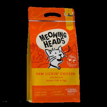 MEOWING HEADS Paw Lickin Chicken - sausas maistas katėms - pašaras katei su vištiena