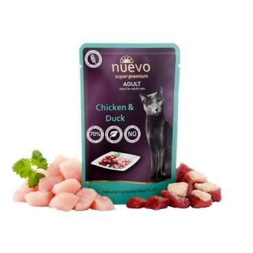 Nuevo Super Premium Cat Adult Chicken Duck - pašaras katėms - guliašas katėms su jautiena ir vištiena
