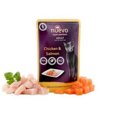 Nuevo Super Premium Cat Adult Chicken Salmon - pašaras katėms - guliašas katėms su vištiena ir tunu
