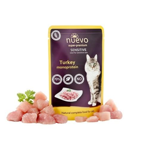 Nuevo Super Premium Cat Sensitive Turkey - pašaras katėms - guliašas katėms su kalakutiena