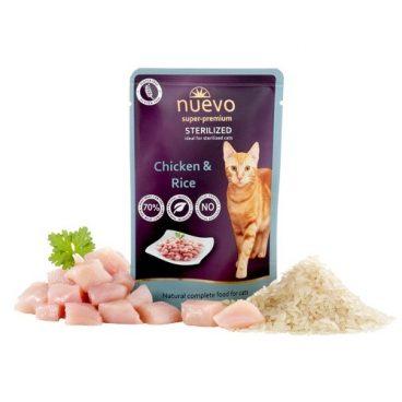 Nuevo Super Premium Cat Sterilised Chicken Rice - pašaras katėms - guliašas katėms su vištiena ir rižiais