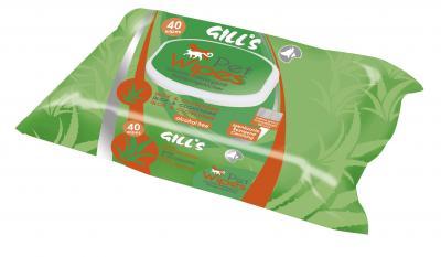 GILL'S Pet Wipes - Servetėlės Augintiniams Su Chlorheksidinu Ir Aloe Vera - Drėgnos servetėlės šunims ir katėms