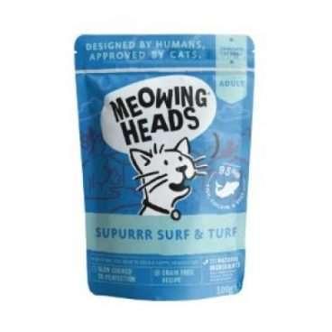 MWFS100 MEOWING HEADS Supurr Surf:Turf - MEOWING HEADS Konservai Katėms - Konservai kačiukams su Žuvim, Vištiena ir Jautiena