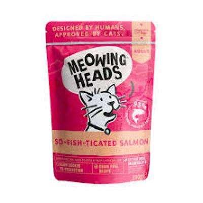 MWSL100 MEOWING HEADS So-Fish-Ticated Salmon - MEOWING HEADS konservai kačiukams - konservai kačiukams su vištiena, lašiša ir jautiena