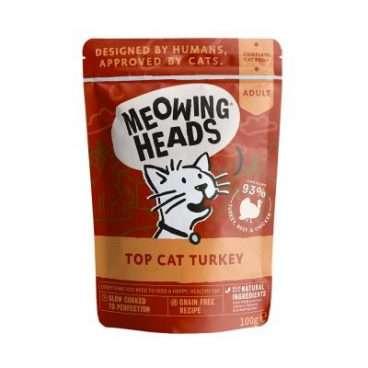 MWTK100 MEOWING HEADS Top Cat Turkey - MEOWING HEADS Konservai katėms - Konservai Kačiukams su Kalakutiena, Jautiena ir Vištiena