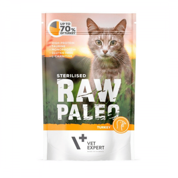 Raw Paleo Cat Adult Beef - Guliašas Sterilizuotoms Katėms su Kalakutiena - Guliašas Katėms