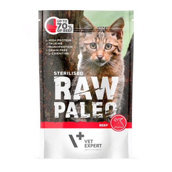 Raw Paleo Cat Adult Beef - Guliašas Sterilizuotoms Katėms - Guliašas Katėms su Jautiena